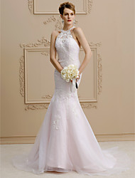 cheap -Mermaid / Trumpet Halter Neck Court Train Lace / Organza / Satin Custom Wedding Dresses with Beading / Appliques by LAN TING BRIDE®