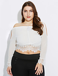 Women's Embroidery Beach/Casual Lace Hem Long Sleeve Short T-shirt