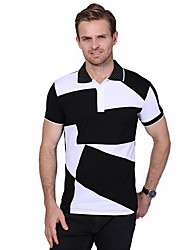 cheap -Men's Daily Plus Size Casual Summer Polo,Color Block Shirt Collar Short Sleeves Cotton Spandex Medium