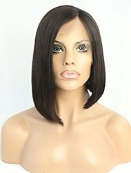 Women Human Hair Lace Wig Brazilian Remy Glueless Lace Front 180% Density Bob Haircut Straight Wig Black Short