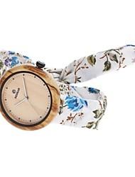 Women's Fashion Watch Wood Watch Japanese Quartz Wooden Fabric Band Charm Elegant Casual White Blue