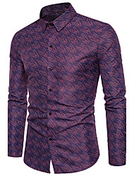 Men's Going out Casual/Daily Simple Active All Seasons Shirt,Polka Dot Print Classic Collar Long Sleeves Cotton Polyester Medium