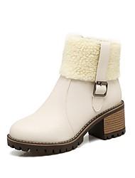 Damen Schuhe PU Herbst Winter Komfort Stiefel Blockabsatz Runde Zehe Schnalle Reißverschluss Für Weiß Schwarz Beige