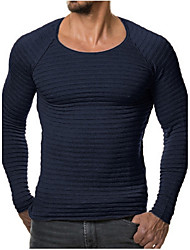 Men's Sports Plus Size Simple Regular Pullover,Solid Round Neck Long Sleeves Cotton Fall Winter Medium Stretchy