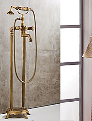 Centerset Floor Standing with  Ceramic Valve Two Handles Two Holes for  Antique Copper , Bathtub Faucet