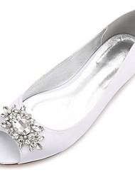 Women's Shoes Satin Spring Summer Comfort Ballerina Wedding Shoes Flat Heel Peep Toe Rhinestone Sparkling Glitter Flower For Wedding