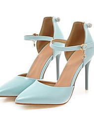 Damen Schuhe PU Frühling Herbst Komfort Neuheit High Heels Stöckelabsatz Spitze Zehe Schnalle Ausgehöhlt Für Party & Festivität Weiß