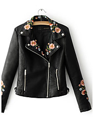 Women's Going out Casual/Daily Simple Street chic Spring Fall Leather Jacket,Print Notch Lapel Long Sleeve Regular Others