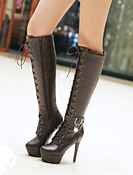 Women's Shoes Leatherette Fall Winter Ankle Strap Fashion Boots Boots Stiletto Heel Platform Round Toe Knee High Boots Imitation Pearl