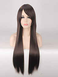 Women Synthetic Wig Capless Long Straight Dark Brown Cosplay Wigs Costume Wig