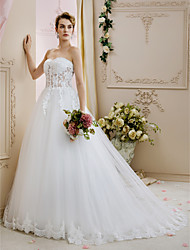 cheap -A-Line Princess Sweetheart Court Train Lace Tulle Wedding Dress with Beading Appliques by LAN TING BRIDE®