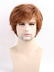 Men Human Hair Capless Wigs Strawberry Blonde/Bleach Blonde Medium Auburn Black Short Straight Side Part