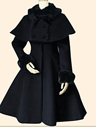 cheap -Winter Sweet Lolita Cape Coat Princess Women's Girls' Coat Cloak Cosplay Black Cyan Long Sleeves