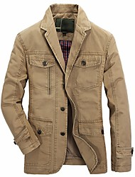 Men's Plus Size Casual/Daily Simple Fall Winter Jacket,Solid Shirt Collar Long Sleeve Long Cotton Acrylic