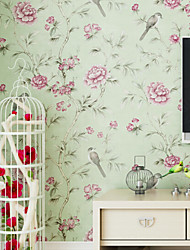 Floral Wallpaper For Home Traditional/Classic Wall Covering  Non-woven fabric Material Adhesive required Wallpaper  Room Wallcovering