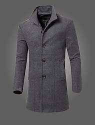 cheap -Men's Daily Going out Simple Vintage Casual Winter Fall Long Coat,Solid Shirt Collar Cotton Polyester