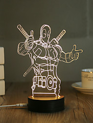1 Set, Popular Home Acrylic 3D Night Light LED Table Lamp USB Mood Lamp Gifts, Deadpool