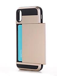 Недорогие -Кейс для Назначение Apple iPhone X iPhone X iPhone 8 Бумажник для карт Защита от удара Кейс на заднюю панель Сплошной цвет Твердый ПК для