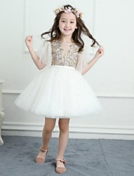 cheap -A-Line Short / Mini Flower Girl Dress - Satin Tulle Half Sleeves Jewel Neck with Appliques Lace by LAN TING BRIDE®