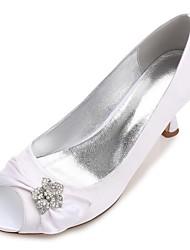 preiswerte -Damen Schuhe Satin Frühling Sommer Komfort Pumps Hochzeit Schuhe Niedriger Absatz Kitten Heel-Absatz Stöckelabsatz Konischer Absatz Peep