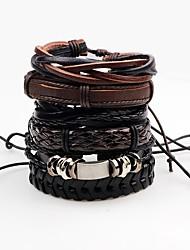cheap -Men's Leather Bracelet Wrap Bracelet Handmade Rock Leather Line Irregular Jewelry For Stage Club