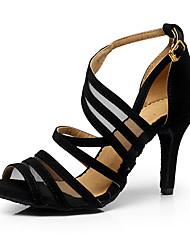 Women's Latin Suede Net Heel Indoor Buckle Splicing Black Customizable