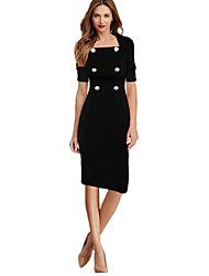 Women's Work Vintage Sheath Dress,Solid Square Neck Knee-length Short Sleeves Cotton Polyester Spandex Summer Mid Rise Micro-elastic