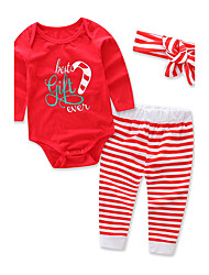 cheap -Girls' Striped Stripes Clothing Set,Cotton Winter Spring Long Sleeve Floral Stripes Red