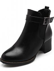 abordables -Mujer Zapatos Semicuero Otoño Invierno Confort Innovador Botas hasta el Tobillo Botas Tacón Robusto Dedo redondo Botines/Hasta el Tobillo