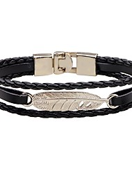 cheap -Men's Women's Leather Bracelet Fashion Vintage Leather Alloy Feather Jewelry For Casual Going out