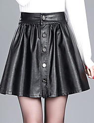 cheap -Women's Daily Above Knee Skirts,Casual A Line PU Solid Winter Fall