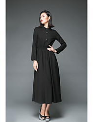 Women's Holiday Going out Casual/Daily Vintage Simple Loose Little Black Swing DressSolid Stand Midi Long Sleeves Cotton Linen Spring
