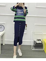 abordables -Mujer Simple Casual/Diario Otoño T-Shirt Falda Trajes,Escote Redondo A Rayas Manga Tres Cuartos Microelástico