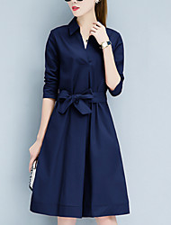 cheap -Women's Daily / Going out Street chic Sheath Dress - Solid Colored Bow Shirt Collar