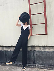 Women's Mid Rise Micro-elastic Overalls Pants,Street chic Straight Solid