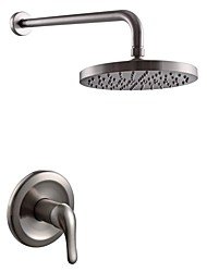 cheap -Contemporary Shower System Rain Shower Handshower Included Ceramic Valve One Hole Brushed