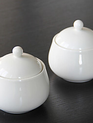 1 Pc Kitchen Ceramic Kitchen Canisters White porcelain seasoning pot