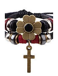 Women's Leather Bracelet Strand Bracelet Handmade Fashion Leather Alloy Flower Cross Jewelry For Casual Going out