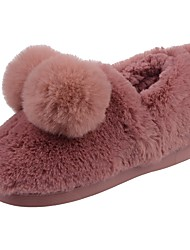 Girls' Shoes Velvet Winter Fur Lining Fluff Lining Comfort Slippers & Flip-Flops Pom-pom For Casual Light Green Light Pink Dark Red