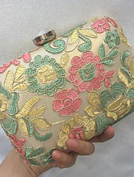 cheap -Women Bags leatherette Evening Bag Embroidery Lace for Wedding Event/Party All Seasons Gold