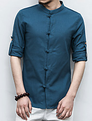 Men's Plus Size Casual/Daily Simple Chinoiserie All Seasons Shirt,Solid Standing Collar Long Sleeves Linen