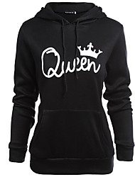 cheap -Women's Daily Casual Hoodie Solid Print Letter Hooded Micro-elastic Cotton Polyester Long Sleeve Fall