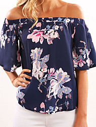 cheap -Women's Polyester Blouse - Floral Boat Neck