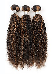 cheap -3 Pieces Black/Light Brown Curly Virgin Peruvian Human Hair Weaves Hair Extensions