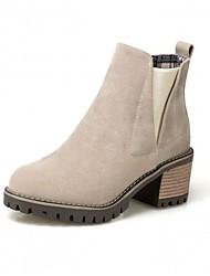 baratos -Mulheres Sapatos Courino Outono Inverno Curta / Ankle Inovador Conforto Botas Salto Plataforma Ponta Redonda Botas Curtas / Ankle Elástico