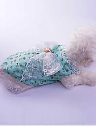 abordables -Chien Robe Vêtements pour Chien Princesse Rouge / Vert Coton Costume Pour les animaux domestiques Eté Femme Décontracté / Quotidien