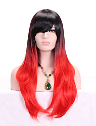 cheap -Women Synthetic Wig Capless Long Wavy Red Ombre Hair Dark Roots With Bangs Cosplay Wig Costume Wig