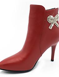cheap -Women's Boots Fashion Boots Bootie Fall Winter Leatherette Party & Evening Dress Rhinestone Applique Zipper Stiletto Heel Red Beige Black