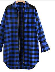 Women's Going out Vintage Shirt,Solid Striped Plaid Shirt Collar Long Sleeves Acrylic