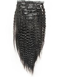 Недорогие -На клипсе Расширения человеческих волос Kinky Curly Жен. Повседневные